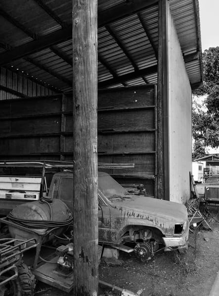 A ranch truck that has outlived its service rests at Pine Trails Horse Ranch, Yolo County, California.