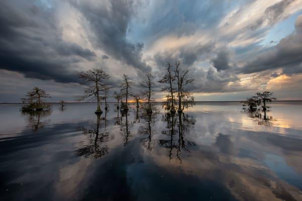 Sunset Among Cypress Trees 83 A3053 Lake Blue Cypress Fl Usa Photography Art   Clemens Vanderwerf Photography