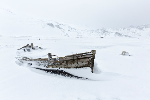Old Whaling Boat Covered With Snow S6 A4850 Whalers Bay Deception Island South Shetland Islands Antarctica Photography Art   Clemens Vanderwerf Photography