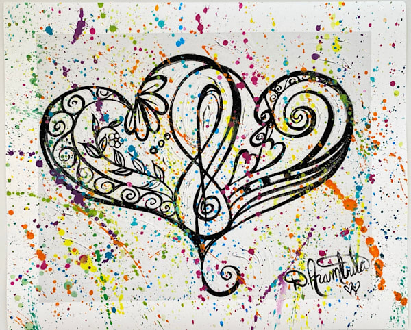 Two Hearts Rhythm Dance #2 Mixed Media Original On Water Color Paper Art | Heartworks Studio Inc