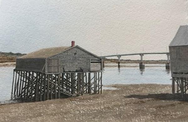Lubec Fish Houses With The Campobello Island Bridge Art | Full Fathom Five Gallery