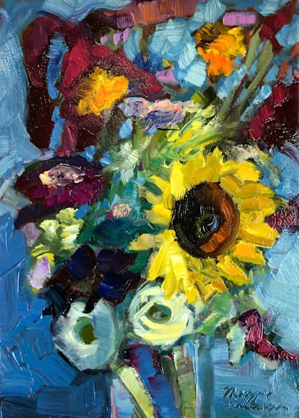 """Beautiful expressionist still life oil painting by Monique Sarkessian """"Still Life with Sunflowers Red Amaranth and Zinnias"""" for sale."""