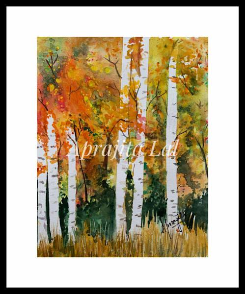 """""""Aspens"""" in Watercolors by Aprajita Lal (Original 5.5x7.5)"""