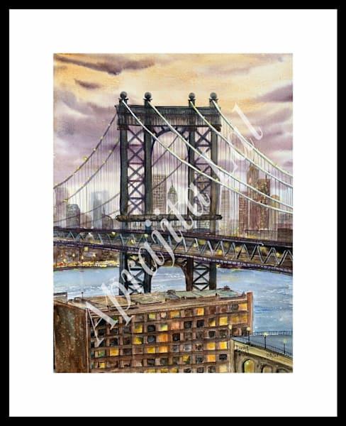 """The Brooklyn Bridge"" in Watercolors by Aprajita Lal (Original 11x14)"