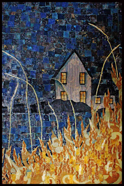 Midnight Moon Diptych is a textile mosaic by Sharon Tesser