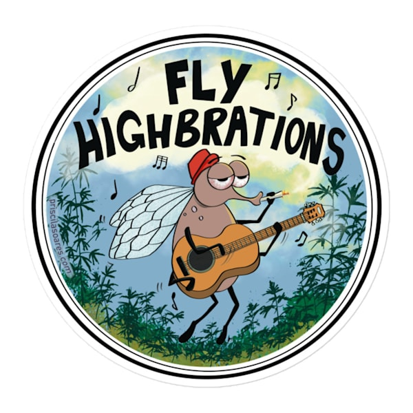 "4""X4"" Fly Highbrations Sticker | Priscila Soares"