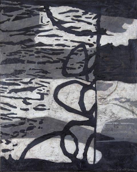 Original Black and White Abstract Painting by Denise Elliott Jones.