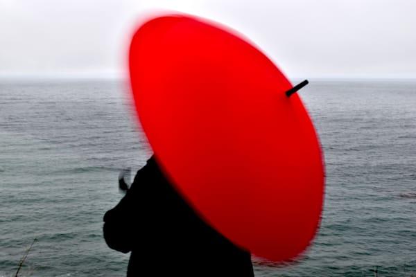Woman With Red Umbrella, Twirling Art | Norlynne Coar Fine Art