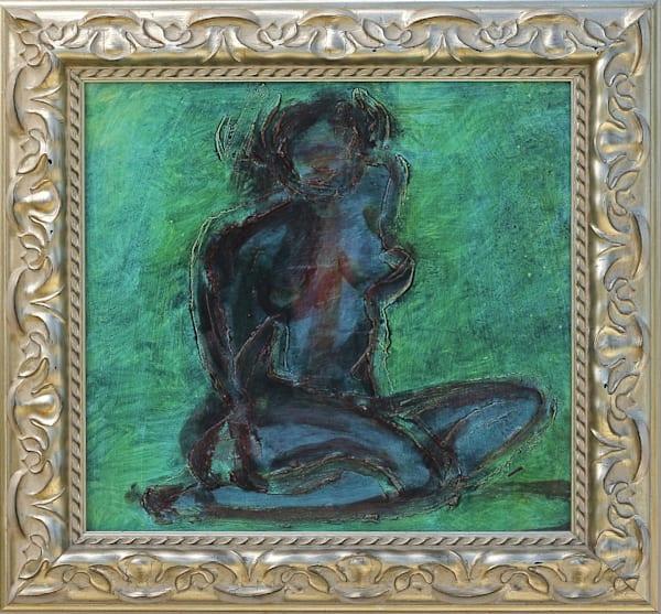 soblue, legs, tucked, under, kneeling, nude, expressionist, deepcolor, green, blue, jackierobbinsstudio, originalfineart