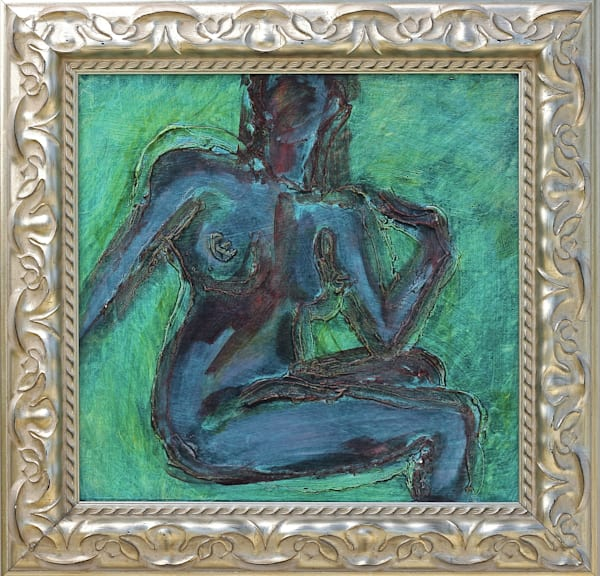 soblue, over, shoulder, nude, expressionist, deepcolor, green, blue, jackierobbinsstudio, originalfineart, impasto