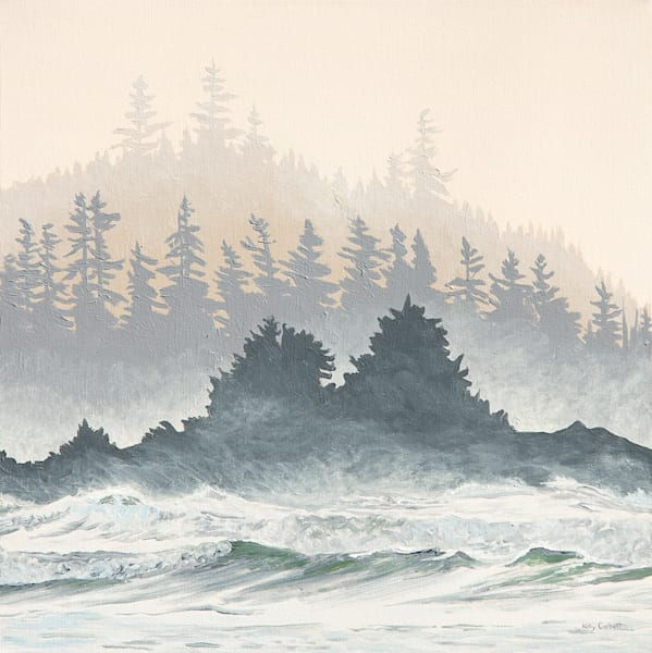 Tonic, 16x16, acrylic on canvas, inspired by Ucluelet BC.