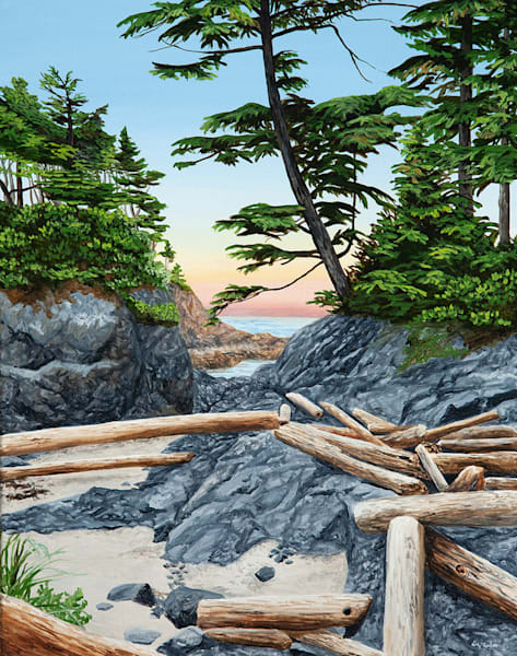 Hiatus, 28x22, acrylic on canvas, inspired by Brown's Beach in Ucluelet