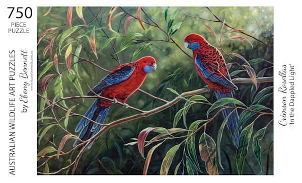 Crimson Rosellas - In the Dappled Light (750 Piece Puzzle)