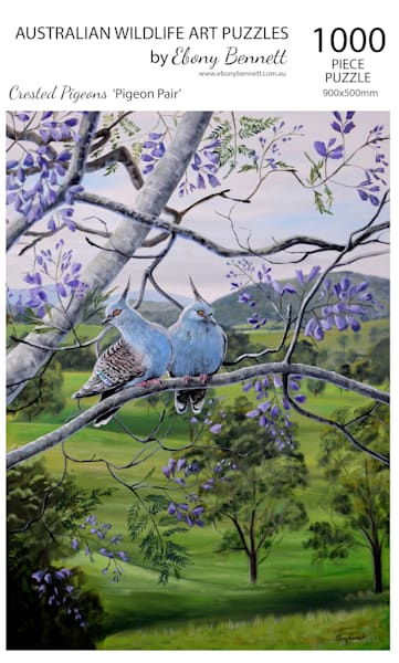 Crested Pigeons - Pigeon Pair (1000 Piece Puzzle)