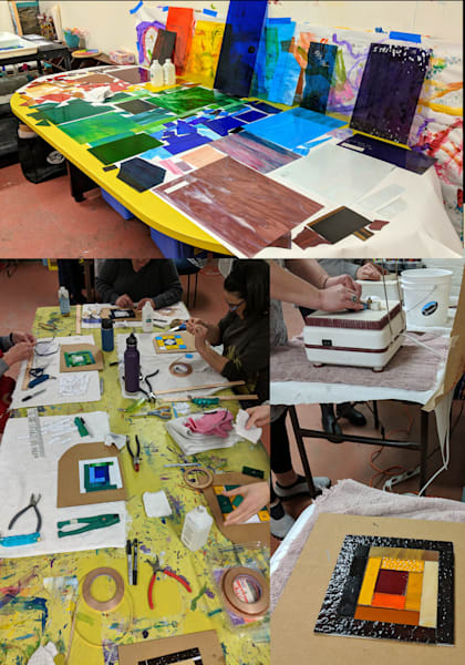 Introduction to Stained Glass Workshop on 01/08/22 at the Natasha Bogar Studio in Bolton Valley, VT.