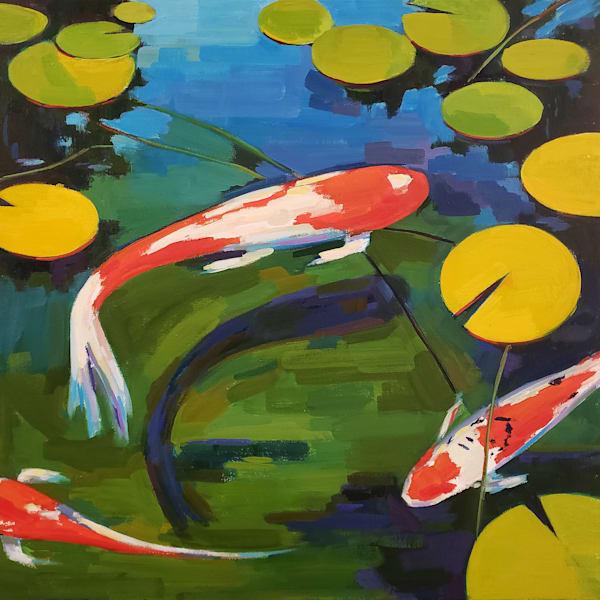 Three Koi Ii Art   Jenn Hallgren Artist