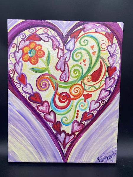 Lockets Of Love   Hand Embellished On Canvas  Art | Heartworks Studio Inc