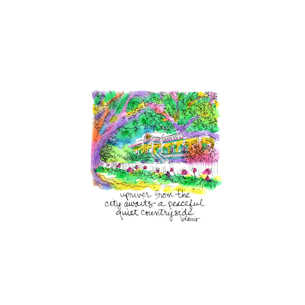 laura plantation, vacherie, louisiana:  tiny haiku art prints in cheerful watercolor available for purchase online