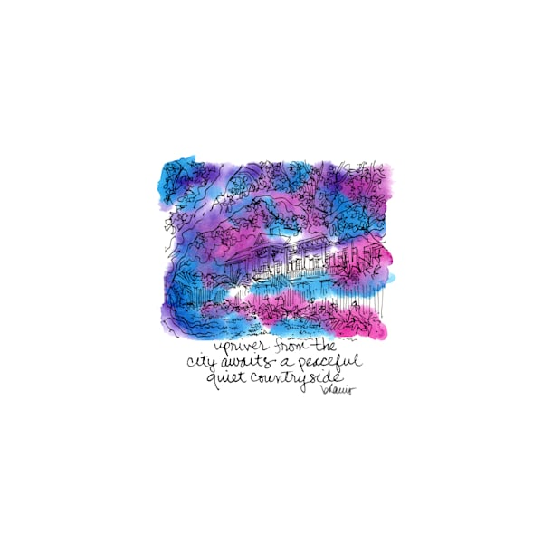"""laura plantation, vacherie, louisiana (""""after dark"""" collection):  tiny haiku art prints in atmospheric watercolor for sale online"""