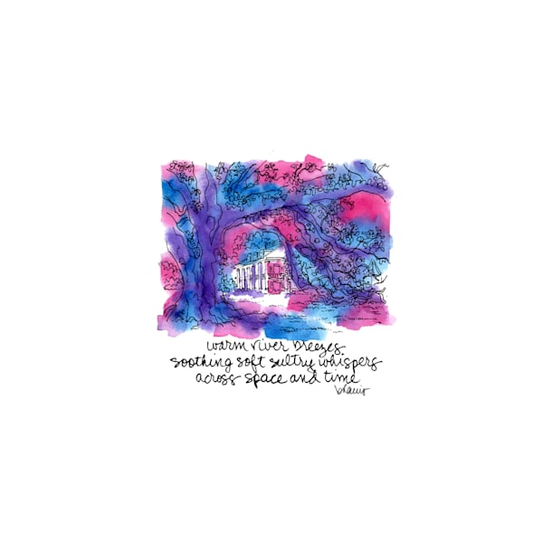 """houmas house plantation, darrow, louisiana (""""after dark"""" collection):  tiny haiku art prints in atmospheric watercolor for sale online"""