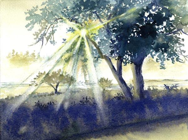 Maine Rising Mist Art   Machalarts Watercolor Studio