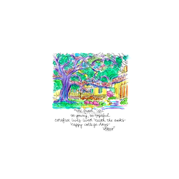 """""""the quad,"""" louisiana state university:  tiny haiku art prints in cheerful watercolor available for purchase online"""