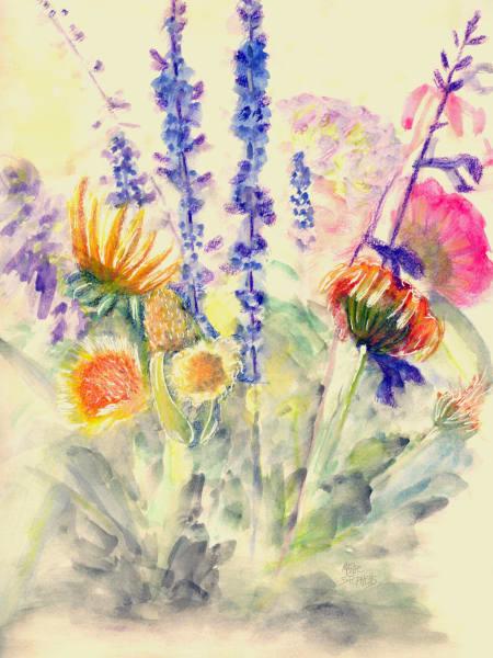 Summer Bouquet Watercolor  Art   Marie Stephens Art