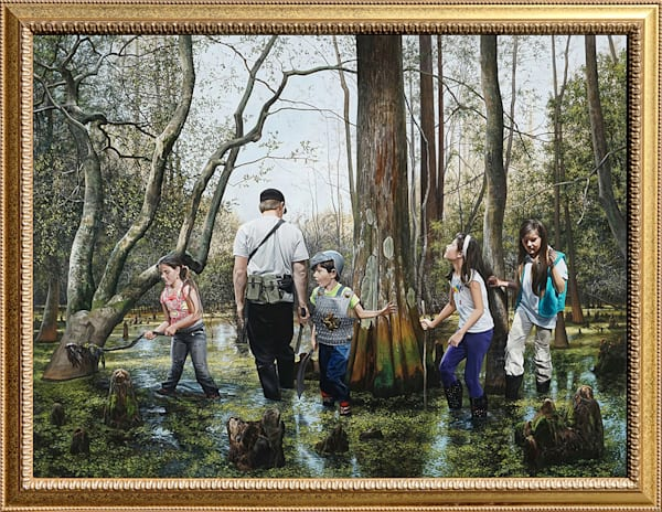 """""""Expedition"""" painting shows kids exploring a swamp"""