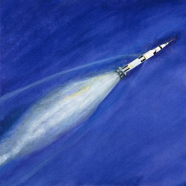 Saturn V In Flight Original Art   Artwork by Rouch