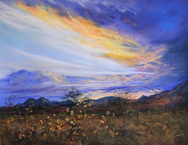 Lindy Cook Severns Art | Sunset Bouquet for the Twin Sisters, print