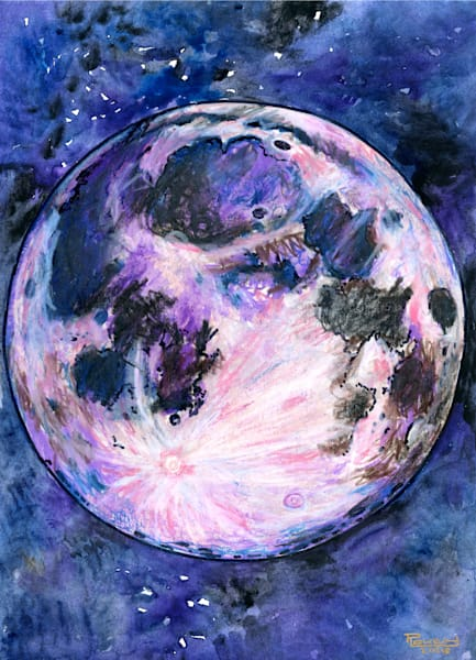 The Moon Original Art   Artwork by Rouch