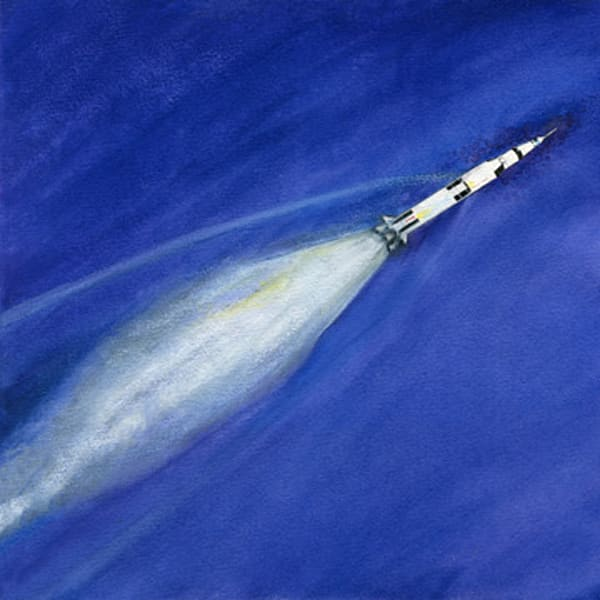 Saturn V In Flight Limited Edition Art | Artwork by Rouch