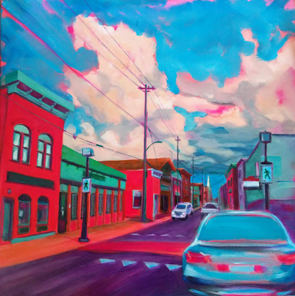 Crossing on Main, acrylic painting of a small town street scene
