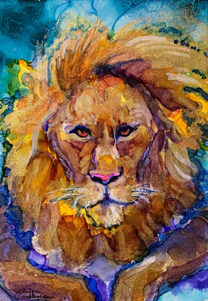 """""""Ready to Roar 19"""" prophetic art  by Monique Sarkessian alcohol ink painting of the Lion of the tribe of Judah."""
