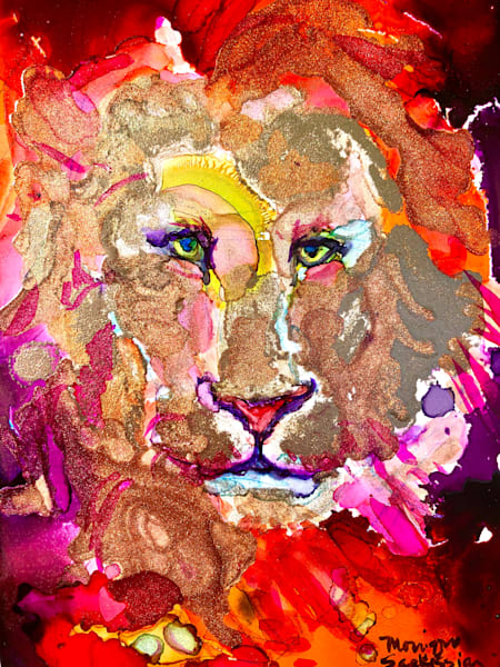 """""""Ready to Roar 20"""" prophetic art  by Monique Sarkessian alcohol ink painting of the Lion of the tribe of Judah."""