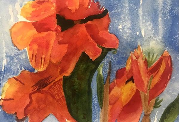 """Tropical Cannas"" Phyllis Marple, Watercolor"