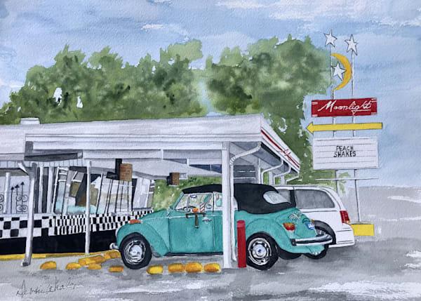 """Bug at Moonlight"" Debbie Whalen, Watercolor"