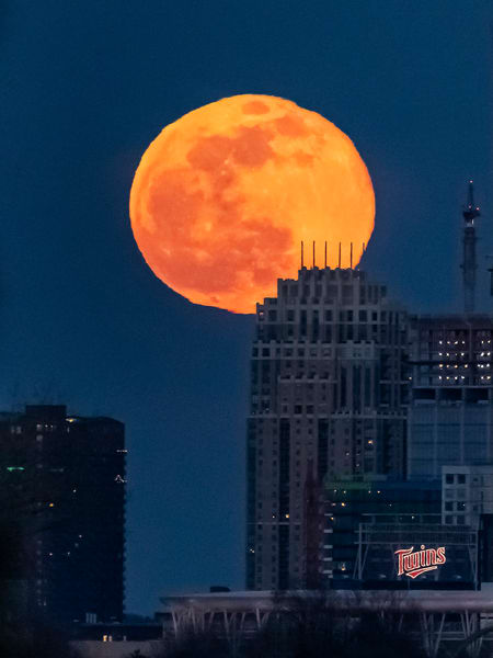 Full Moon and The Carlye - Minneapolis Canvas Art | William Drew Photography