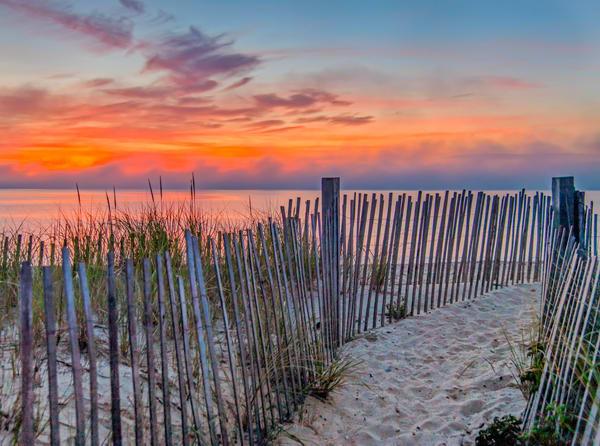 State Beach Sunrise Snow Fence Art | Michael Blanchard Inspirational Photography - Crossroads Gallery