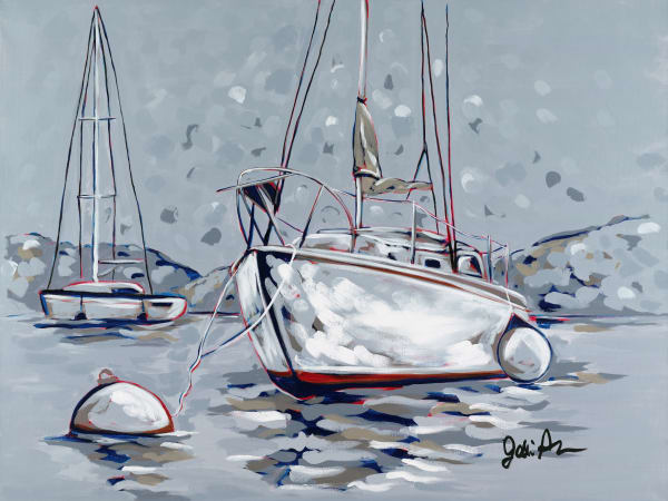 Nautical-themed paintings by Jodi Augustine.