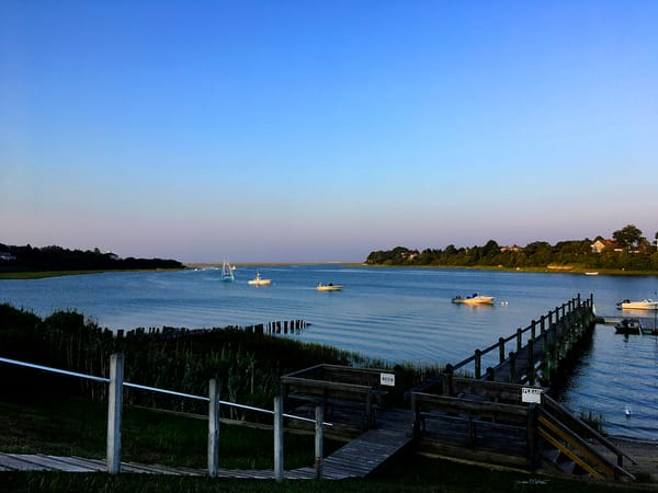 Summer 2021 Cape Cod Boats from commorative bench -