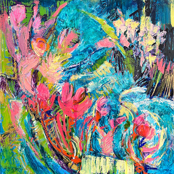 Bold bright pink and teal expressive abstract painting