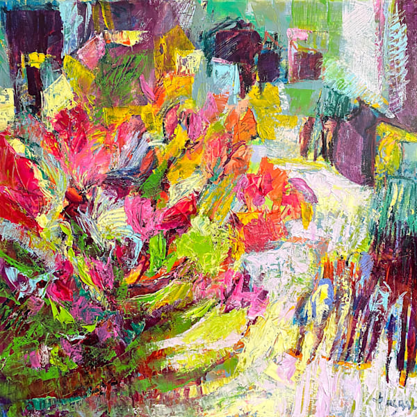 Crimson and Yellow Floral Abstract Painting