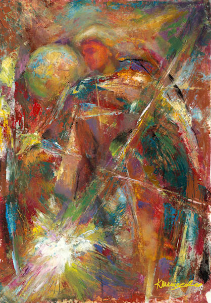Abstract Angel of peace oil embellished canvas giclee for purchase