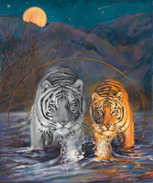 Mysterious Santa Fe moon with tigers painting