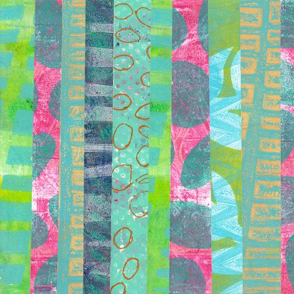 Teal Stripes: An Original Mixed Media Artwork by Jennifer Akkermans