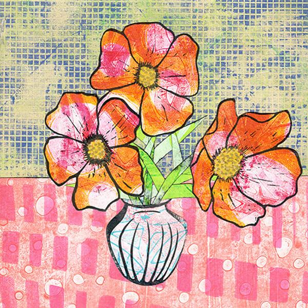 Orange Blooms: An Original Mixed Media Artwork by Jennifer Akkermans