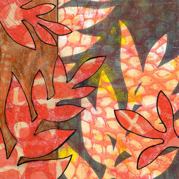 Red Ferns: Mixed media artwork by Jennifer Akkermans