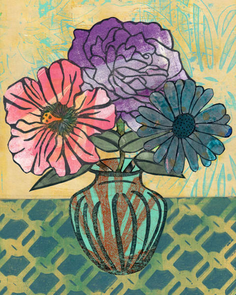 Fondness: Mixed media Floral artwork by Jennifer Akkermans