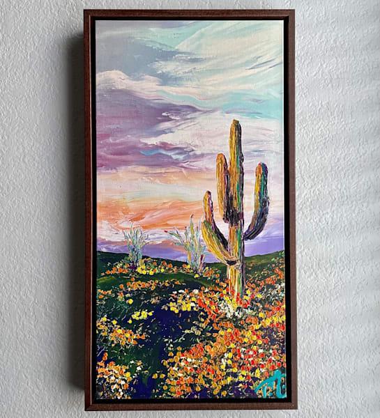 Saguaro In Solitude   Oil Embellished Giclée #2 Art   Tessa Nicole Art